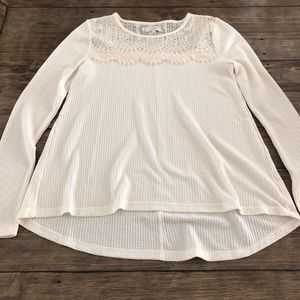 Lucky Brand Ivory Lace Thermal Swing Tunic Top Med